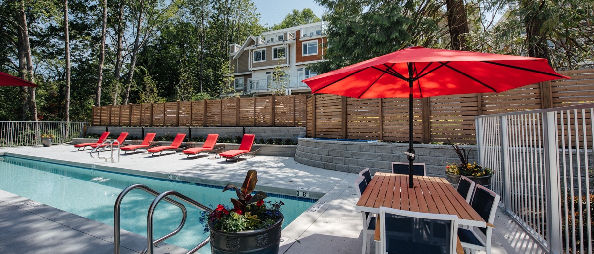 At the poolside in South Surrey Townhomes South Ridge Club