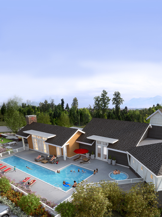 Overhead rendering of the South Ridge Clubhouse