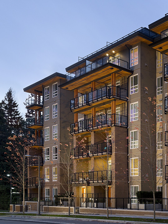 Adera's Prodigy is Lit Beautifully at Night in Vancouver UBC's Wesbrook Village