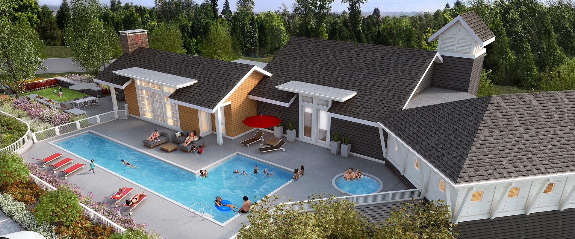 This relaxing clubhouse could be yours to enjoy at South Surrey townhomes South Ridge Club