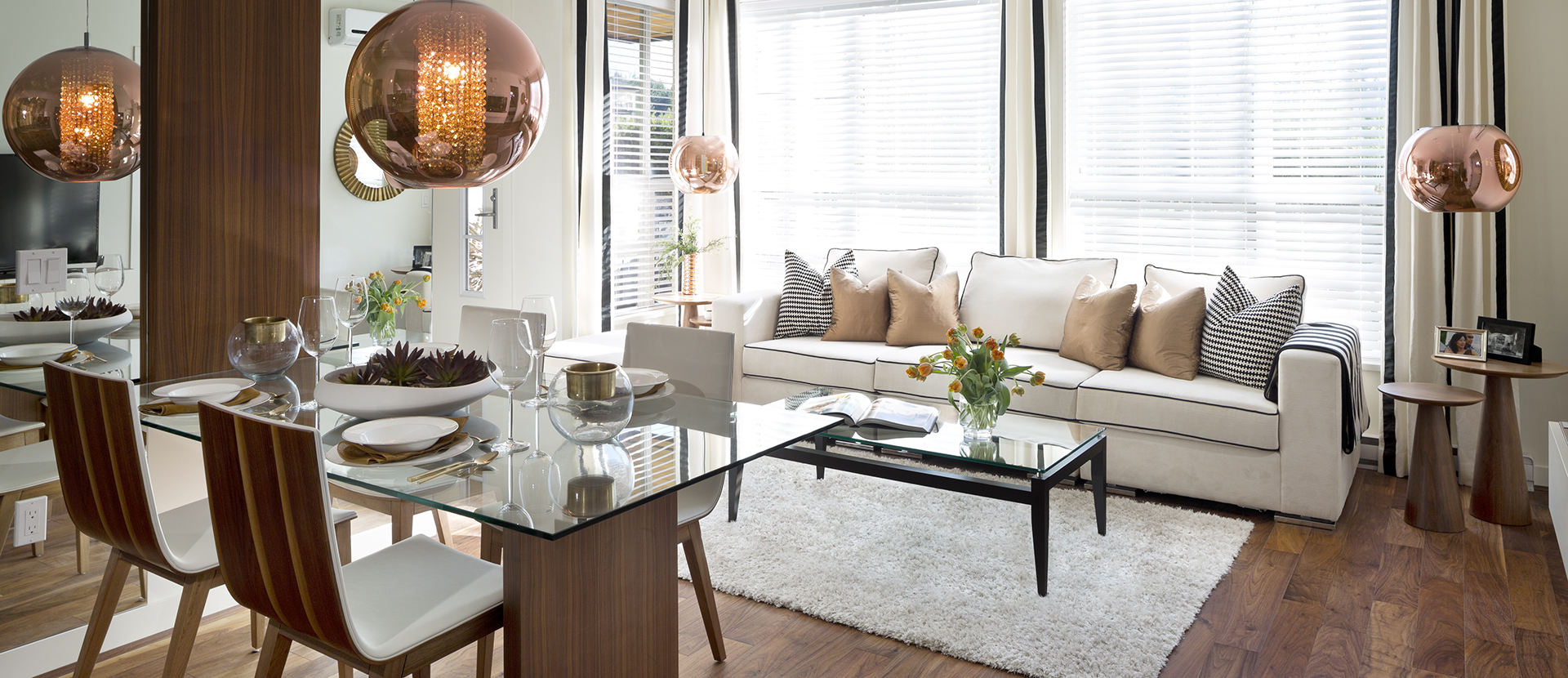 An elegant living room layout at the Prodigy condos
