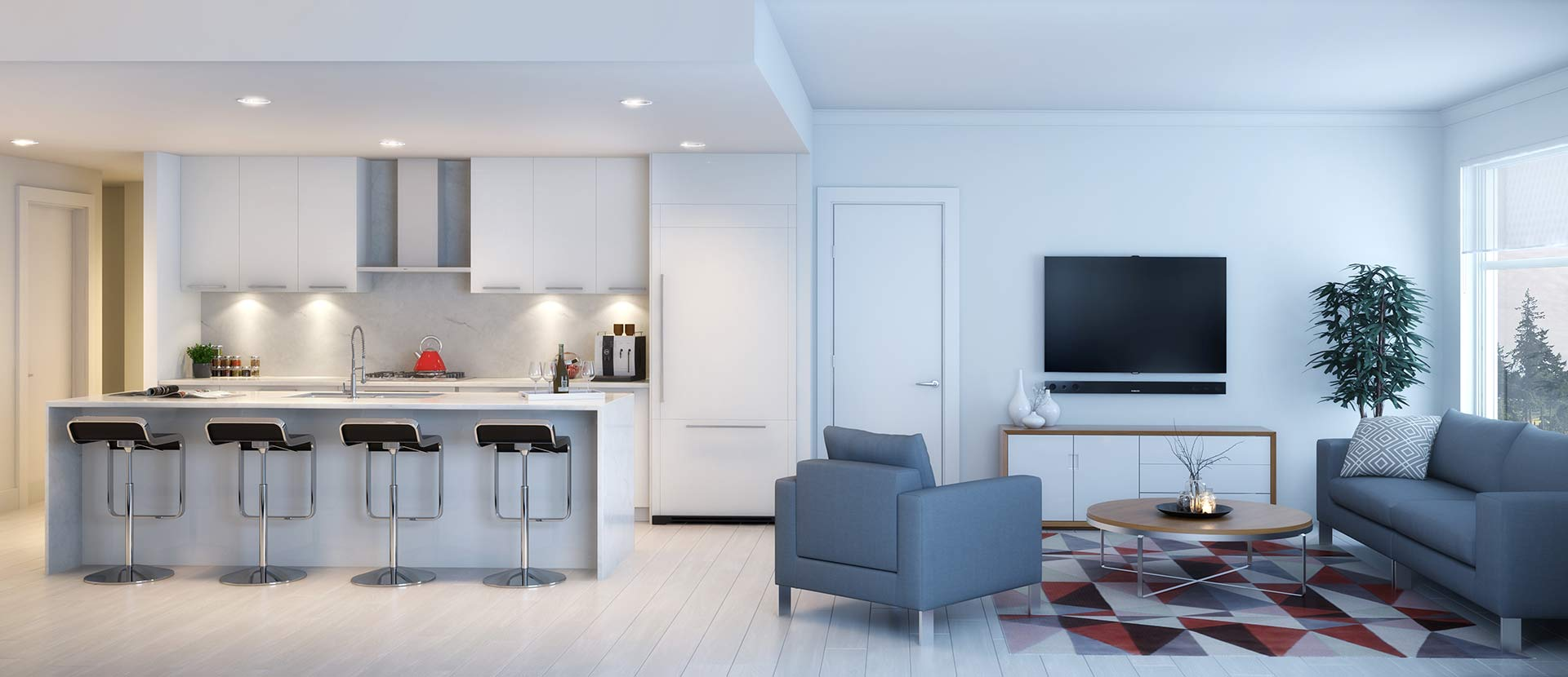 Virtuoso townhome living room and kitchen rendering